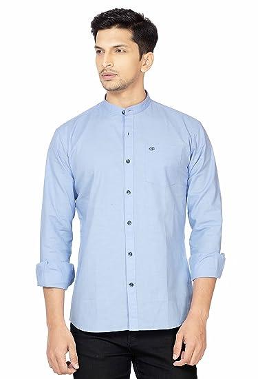 ccf35da8a381 LA Seven Light Blue Color Solid Slimfit Full Sleeves Cotton Casual ...