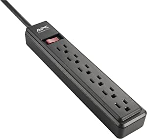APC Power Strip, 6-Outlet Black Power Strip (PZ62B)