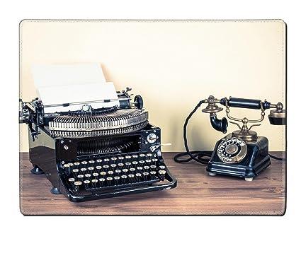 MSD mantel individual imagen ID 20151768 Vintage teléfono antiguo máquina de escribir sobre mesa