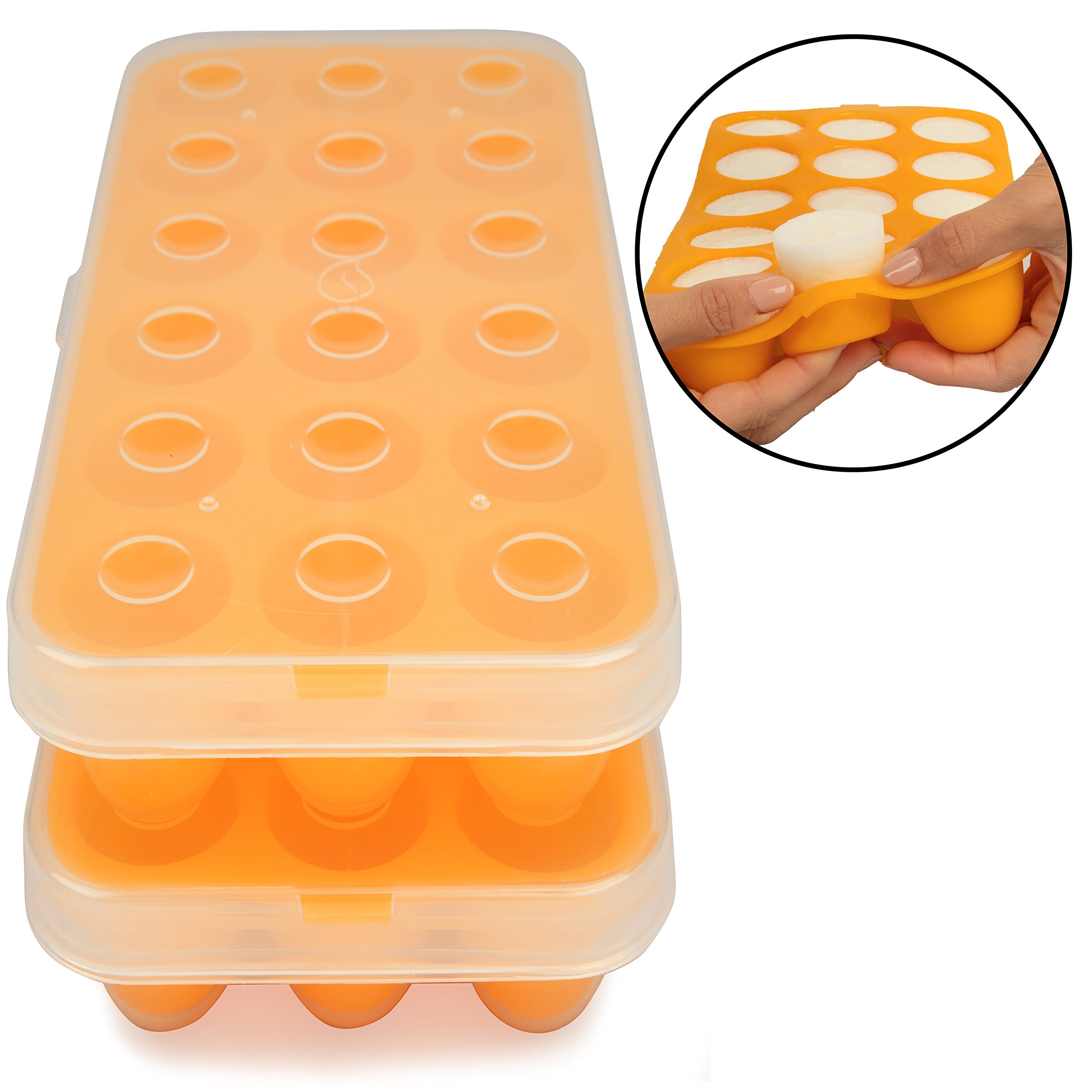 Silicone Baby Food Storage Tray (2 Pack) - Pop Out 1oz Portion Silicone Freezer Tray - Non Toxic, BPA & PVC Free by Sprout Cups