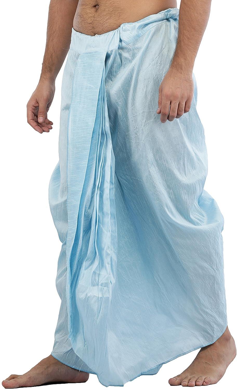 Maenner-Dhoti-Dupion-Silk-Plain-handgefertigt-fuer-Pooja-Casual-Hochzeit-Wear Indexbild 12