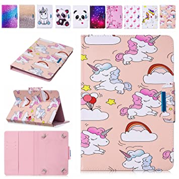 pretty nice a2b9e 91f40 Universal 7 Inch Case Unicorn, E-Mandala Pretty Cute Pattern Personalised  Design PU Leather Flip Case Wallet Cover with Card Holder Kickstand  Magnetic ...