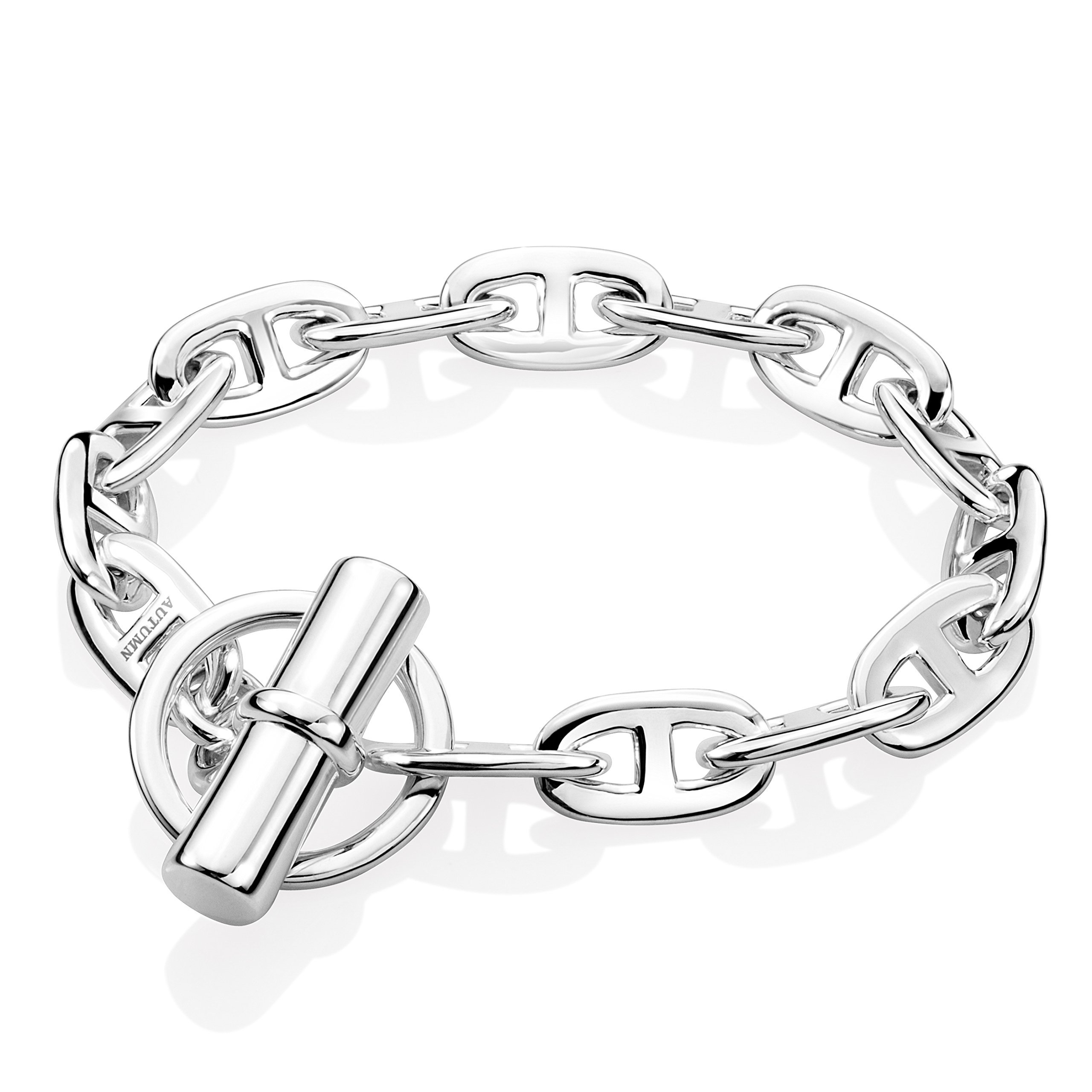 Autumn Enchanted Women 925 Sterling Silver Bracelet 10 mm Wide Anchor Chain Style (7.5 In.)