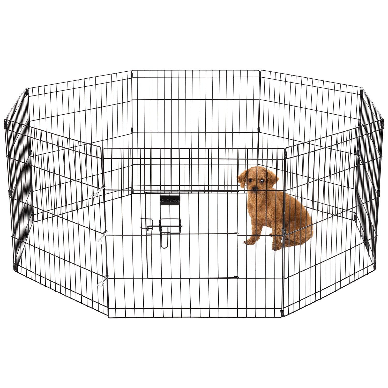 Ollieroo Dog Cat Exercise Playpen Outdoor Indoor Cage 8 Panels Black