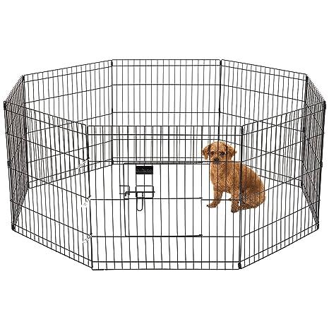 Ollieroo perro parque ejercicio Pen gato valla mascotas interior y exterior para jaula 8 Panel negro