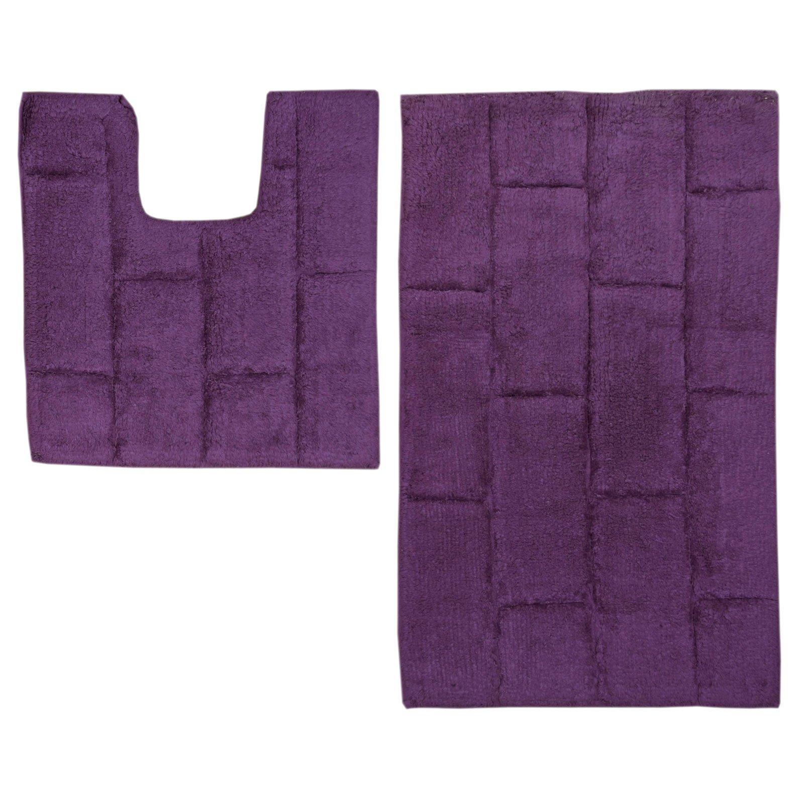Merveilleux Just Contempo 2 Piece Cotton Bath And Pedestal Mat Set   Purple