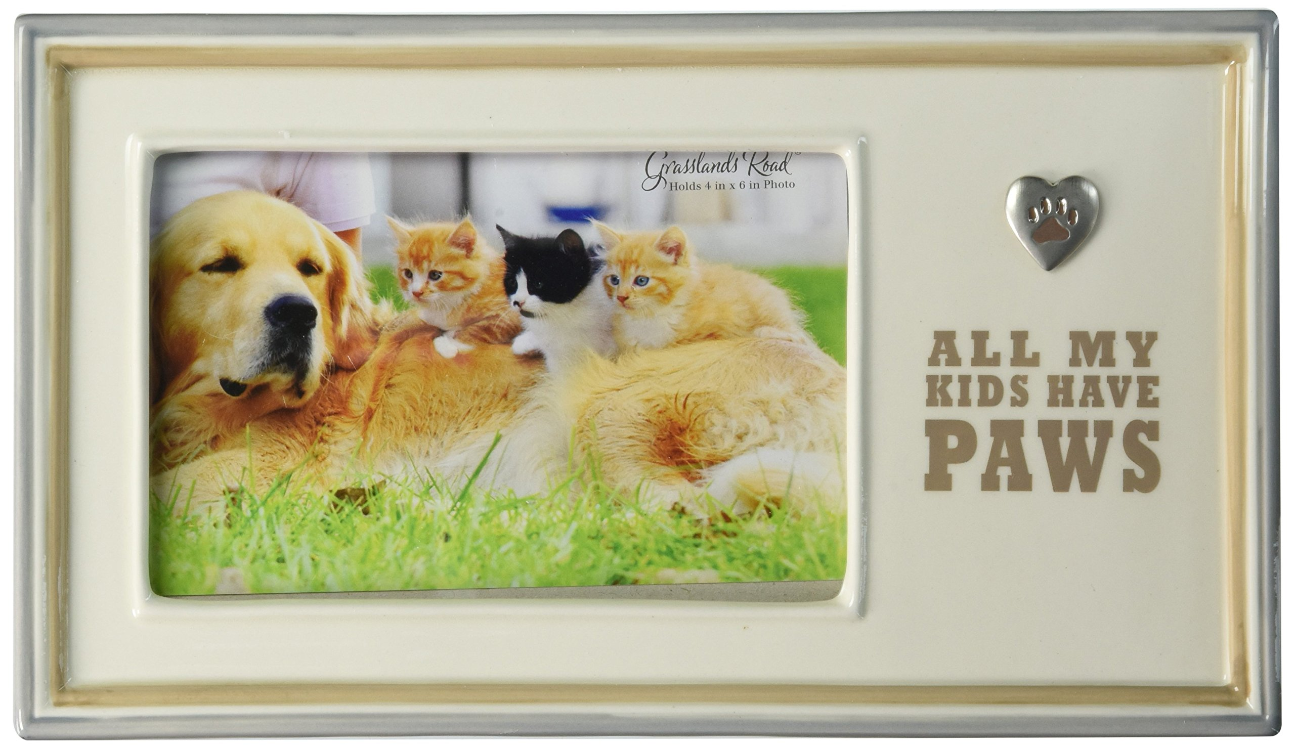 Grasslands Road All My Kids Have Paws Ceramic Frame, Antique White, 4 by 6-Inch