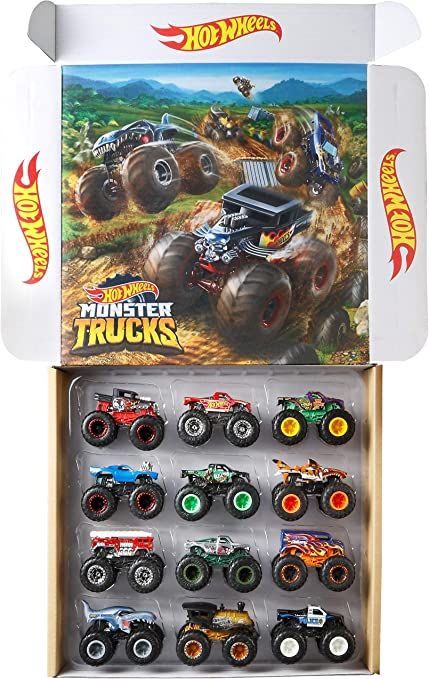 Amazon Com Hot Wheels Monster Trucks 1 64 Scale Die Cast Ultimate Chaos 12 Pack Toy Vehicles For Kids Ages 3 Years And Older Toys Games