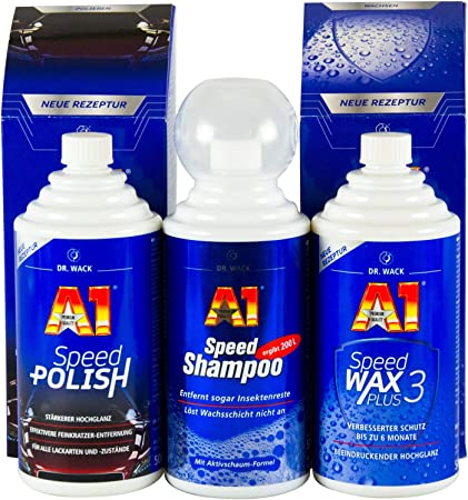 Dr Wack A1 Speed Polish 500ml Speed Wax Plus 3 500 Ml And Shampoo 500 Ml Auto