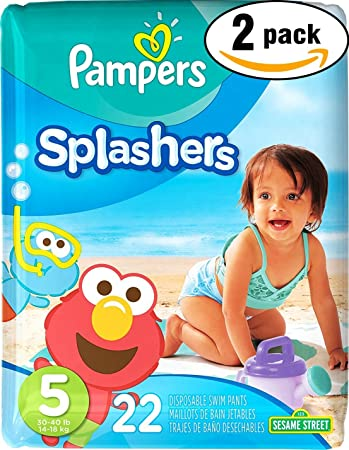 Pampers Splashers Swim Diaper Sesame Street - Size 5 - 22 ct (Pack of 2