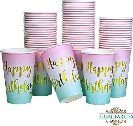 Amazon.com: Ideal Parties - Vasos de cumpleaños (50 unidades ...