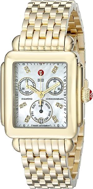 MICHELE Women's MWW06P000016 Deco Analog Display Swiss Quartz Gold Watch