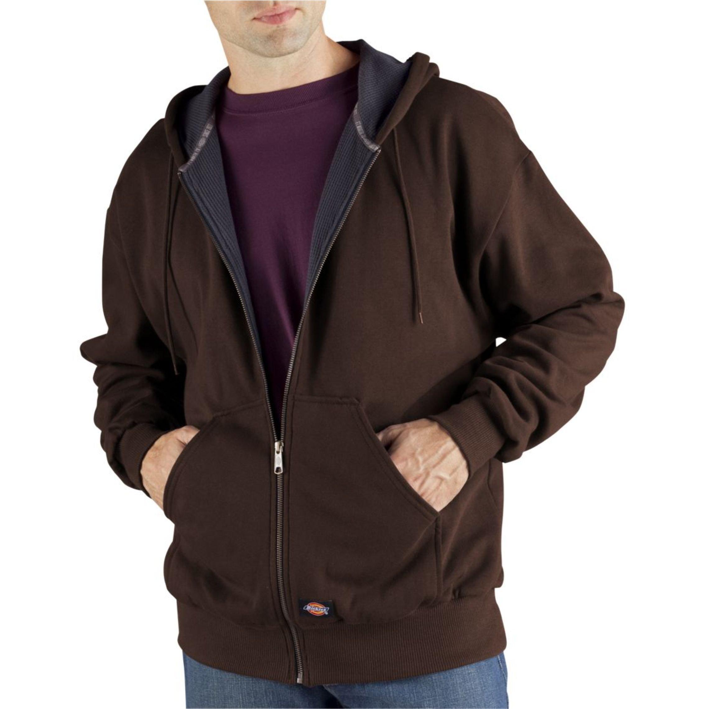 Dickies Men's Thermal Lined Fleece Jacket, Dark Brown, X-Large