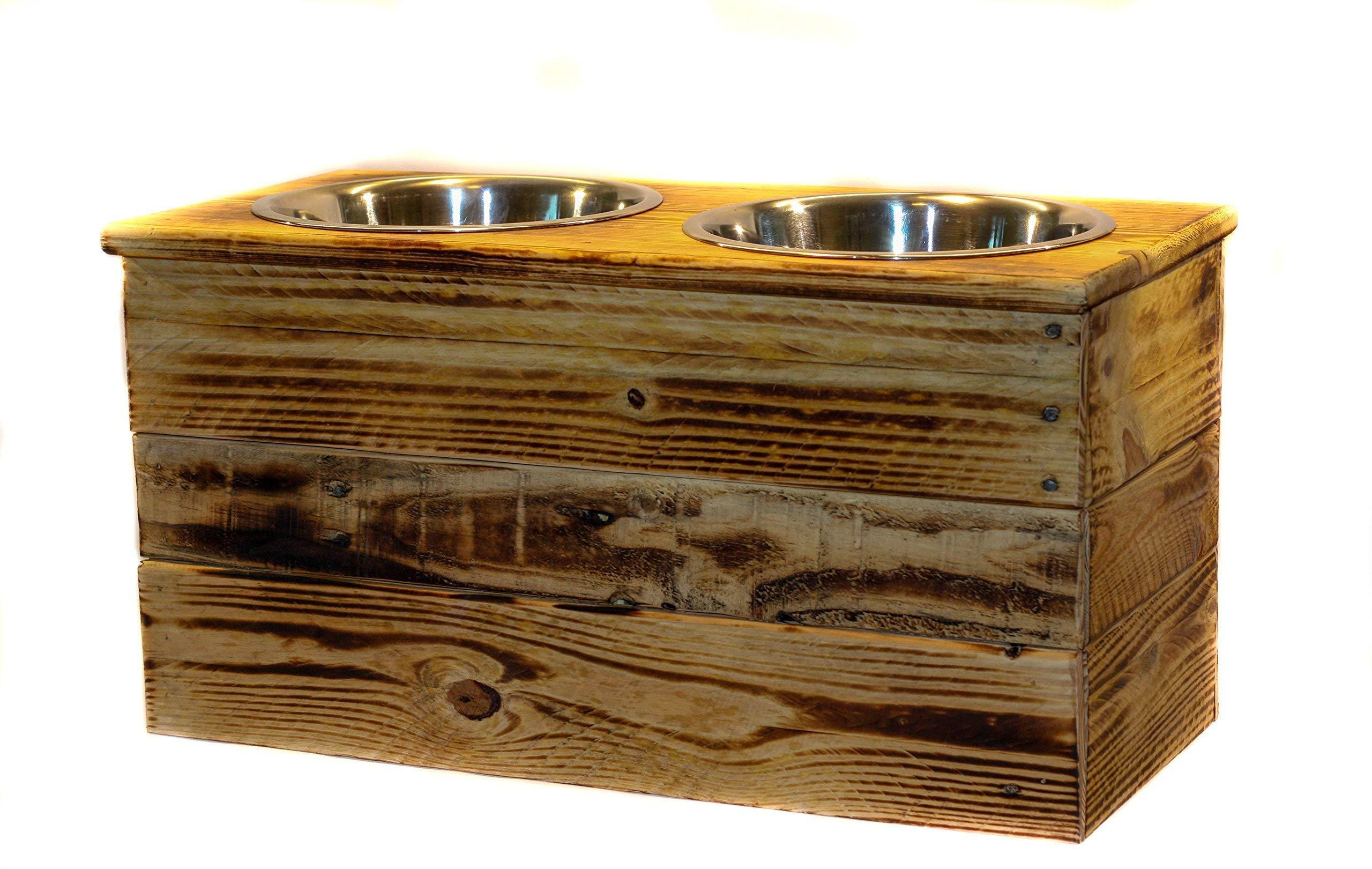 Double Extra Large Elevated Dog Dish // Extra Large 2 Bowl Feeding Stand // Dog Dish // Elevated Dog Bowl by 6 Dogs Decor (Image #1)