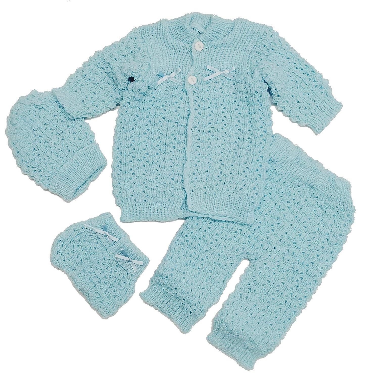 0d0901767 Fashion Cute Newborn Baby Boy's Girl's Unisex Warm Winter 4 Pieces Crochet  Set