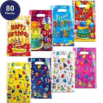 Outus Bolsas de Regalo de Cumpleaños de Plástico de 80 Piezas. Bolsas de Regalo de Cumpleaños para Niños Favores de Fiesta de Cumpleaños, Pastel y ...
