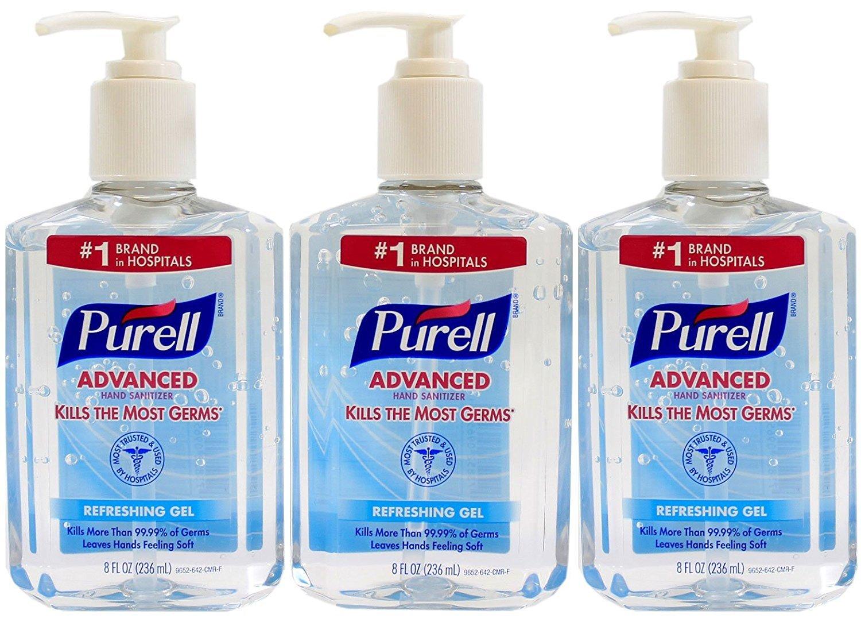 Purell Advanced Hand Sanitizer 8 Oz Pump Bottle Pack Of 3 On