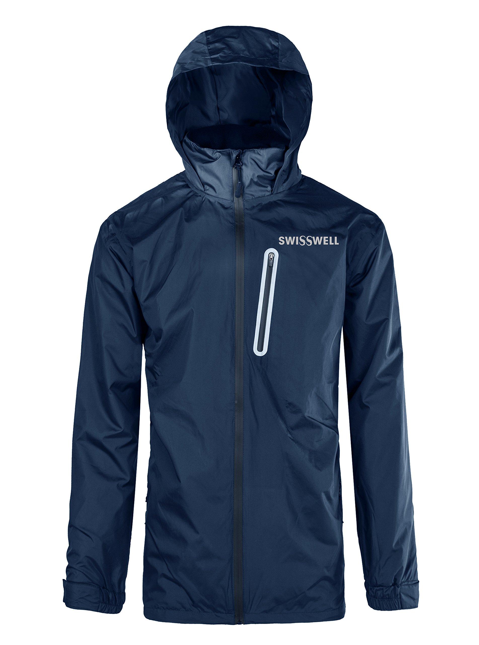 SWISSWELL Hooded Rain Jakcet for Mens Navy Blue Medium
