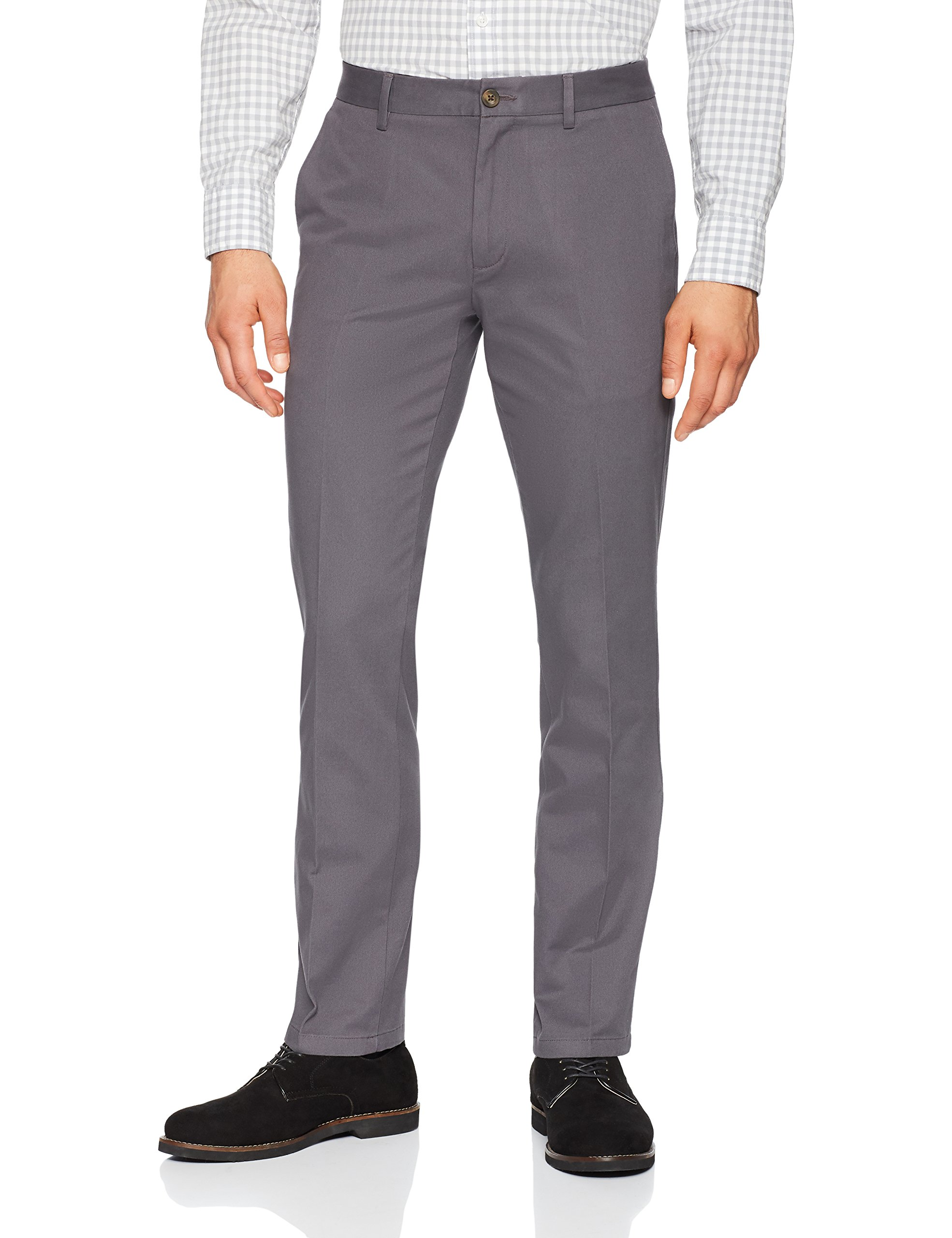Amazon Essentials Men's Slim-Fit Wrinkle-Resistant Flat-Front Chino Pant, Grey, 33W x 30L