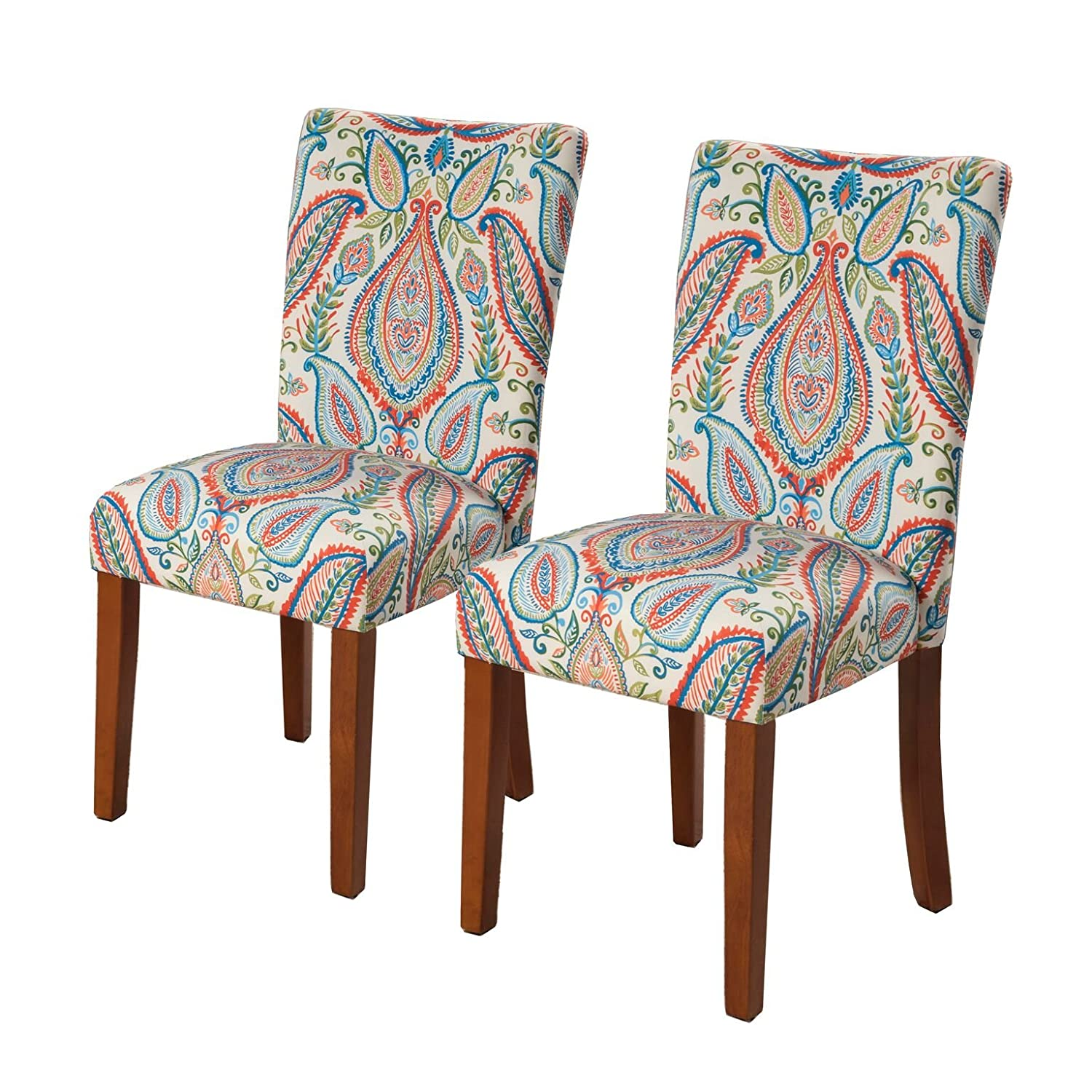 HomePop Parsons Classic Upholstered Accent Dining Chair, Set of 2, Colorful Paisley