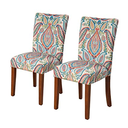 HomePop K6805 A727 Parsons Classic Dining Chair, Set Of 2, Colorful Paisley