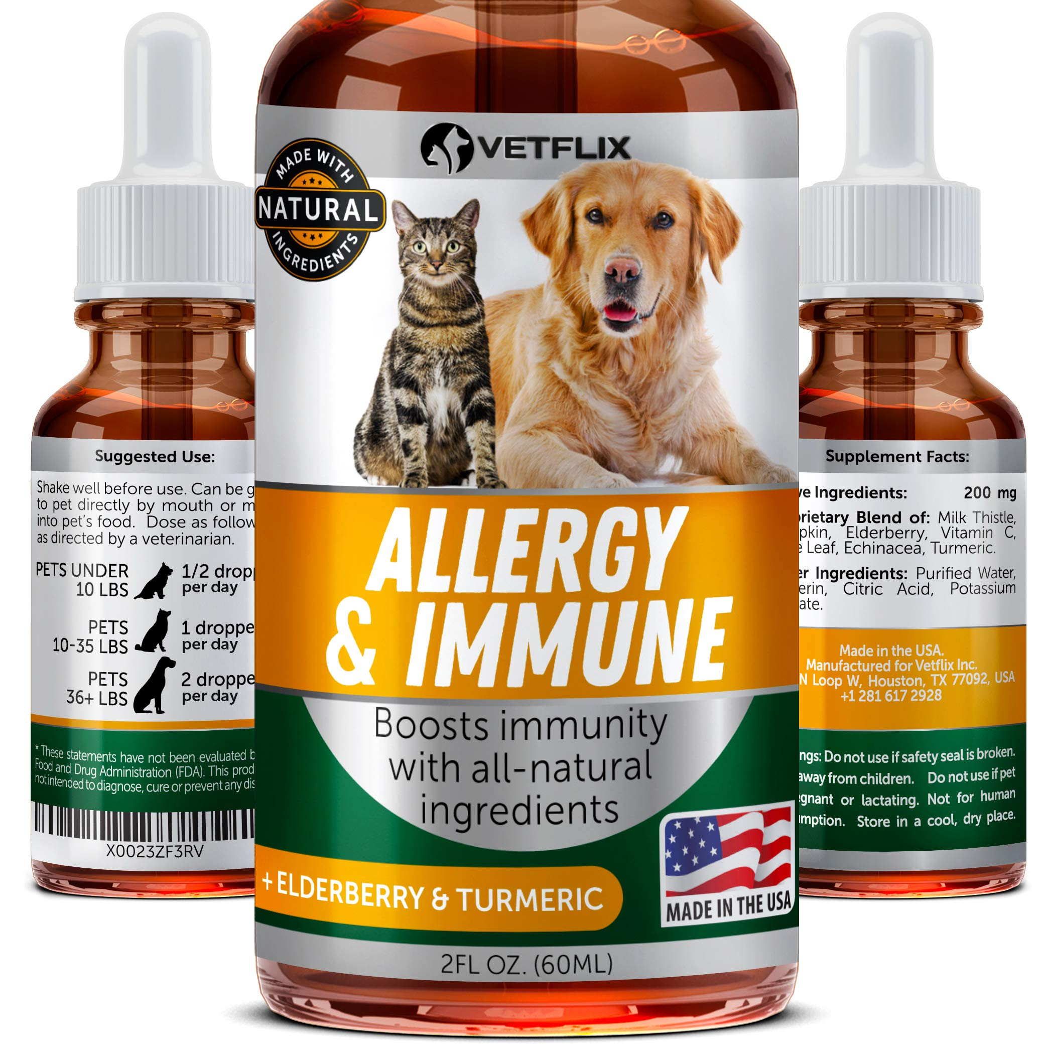 Pet Allergy & Immune Support - Made in USA - Cat & Dog Allergy Relief - 100% Natural - Milk Thistle & Turmeric - Best Treatment for Dog & Cat Immune System - Vitamin C for Pets - Non-GMO by Vetflix