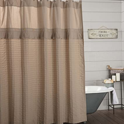Claras Cottage Taupe Shower Curtain 72x72 Linen Look Beige Farmhouse Bathroom Decor