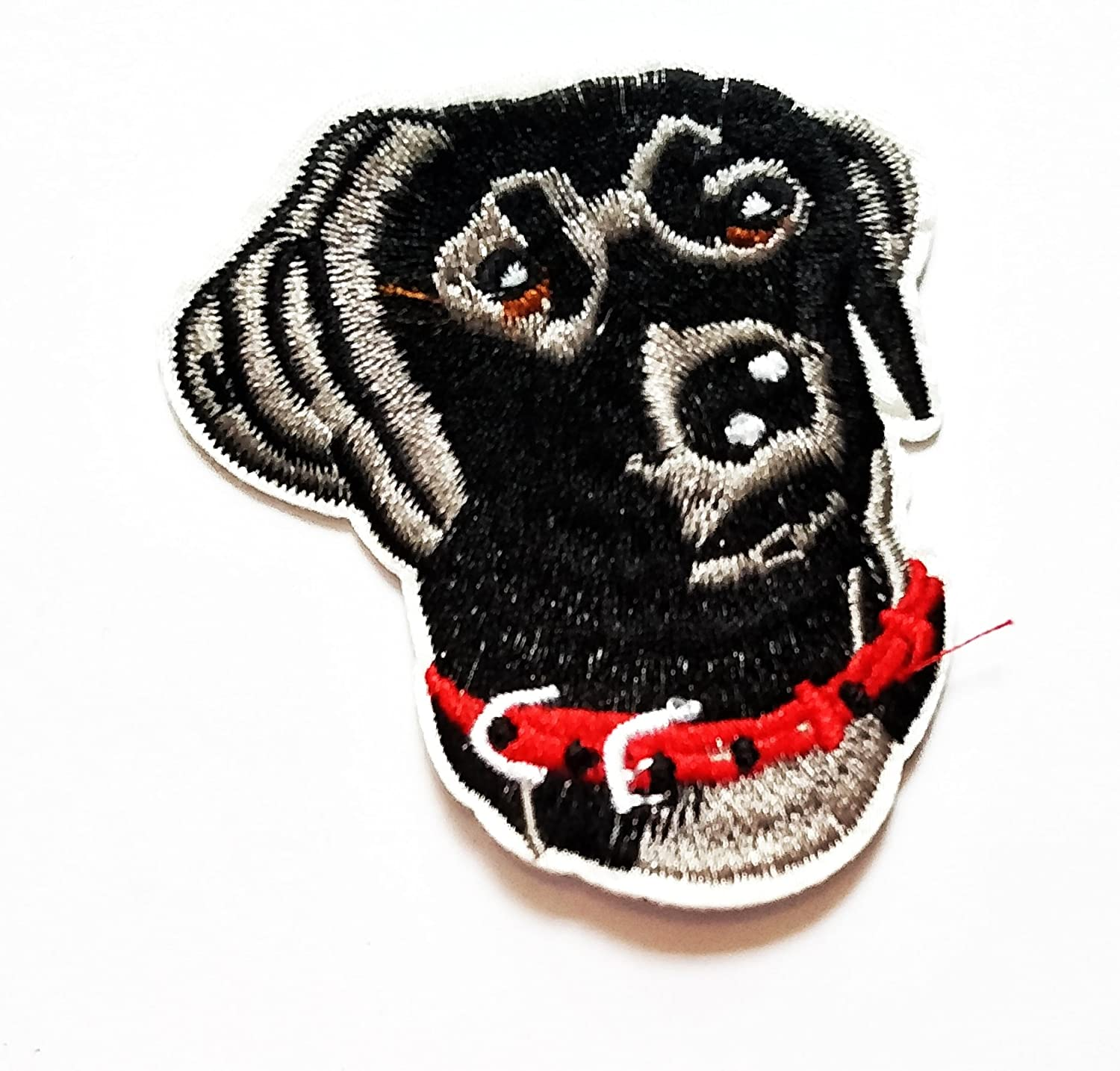 Nipitshop Patches Black Lab Labrador Cute Dog Red Collar Cartoon Kids Patch Embroidered Iron On Patch for Clothes Backpacks T-Shirt Jeans Skirt Vests Scarf Hat Bag