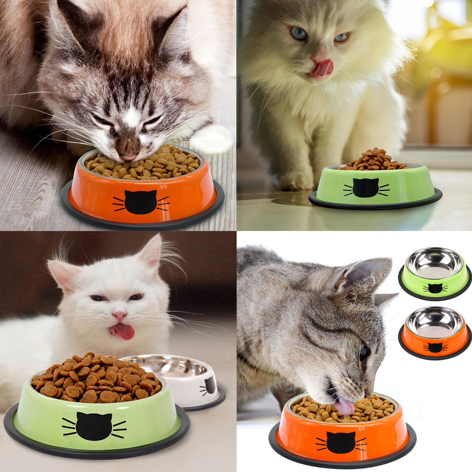 Sportgirls Stainless Steel Pet Cat Kitten Bowl Puppy Dish Bowl with Non-Skid Bottom for Small Dogs Cats