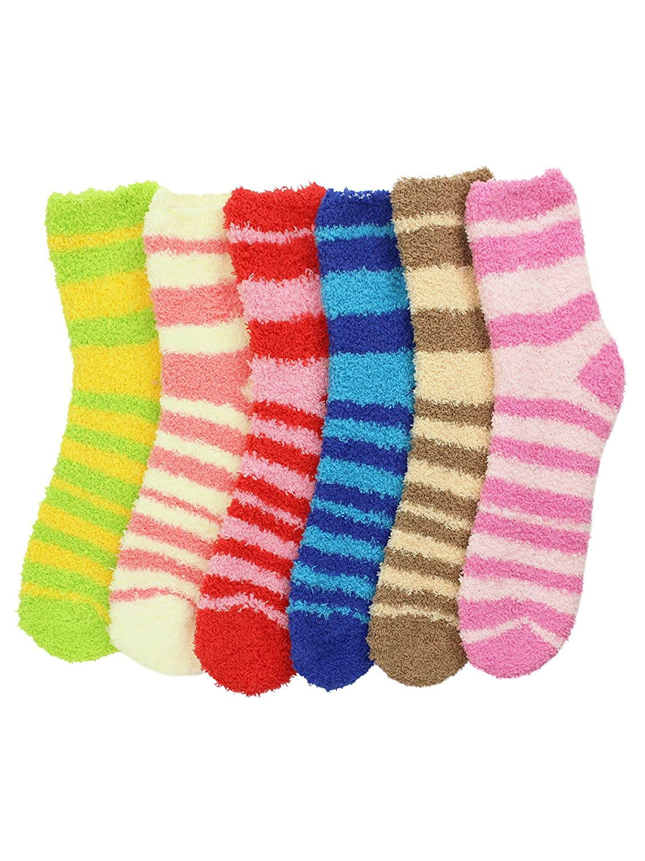 Striped Assorted Multicolor 6 Pack Fuzzy Socks Luxury Divas L01566