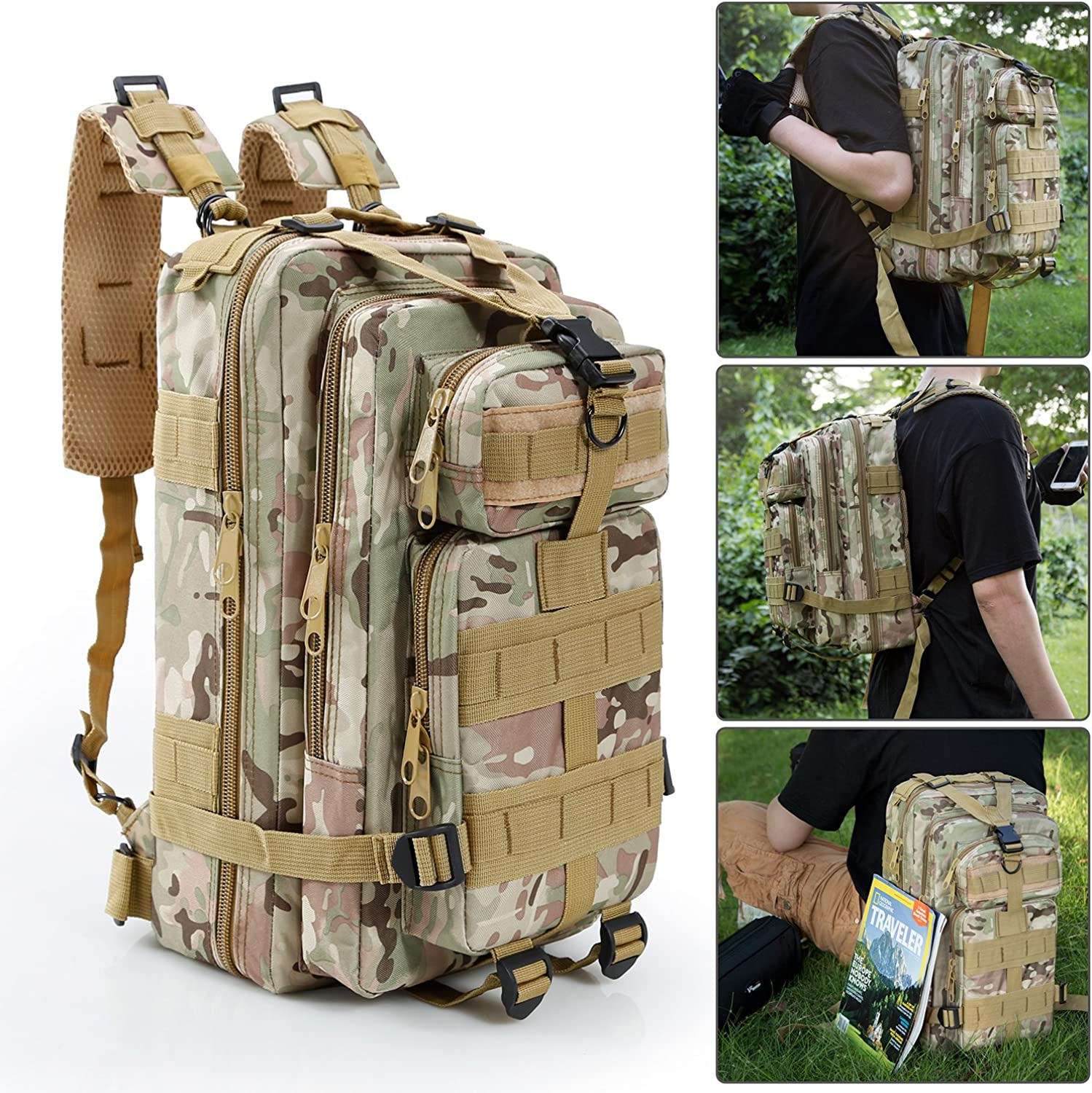 MENS MOLLE MILITARY TACTICAL BACKPACK RUCKSACK HIKING TREKKING OUTDOOR 30L+45L