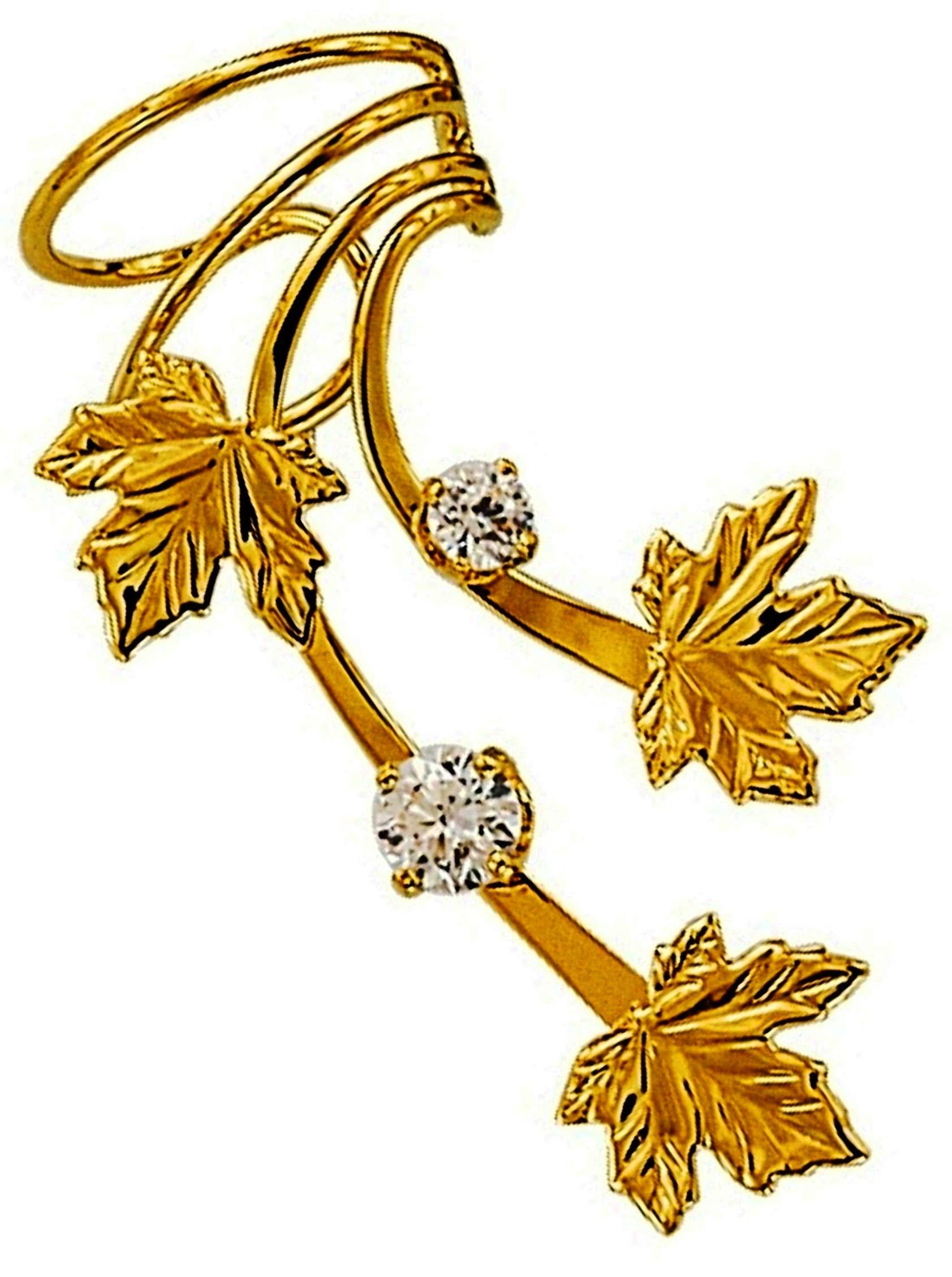 Ear Charms Maple 3 Leaf 2 CZ Long Wave Ear Cuff Non-pierced Right Earring Wrap Gold on Silver