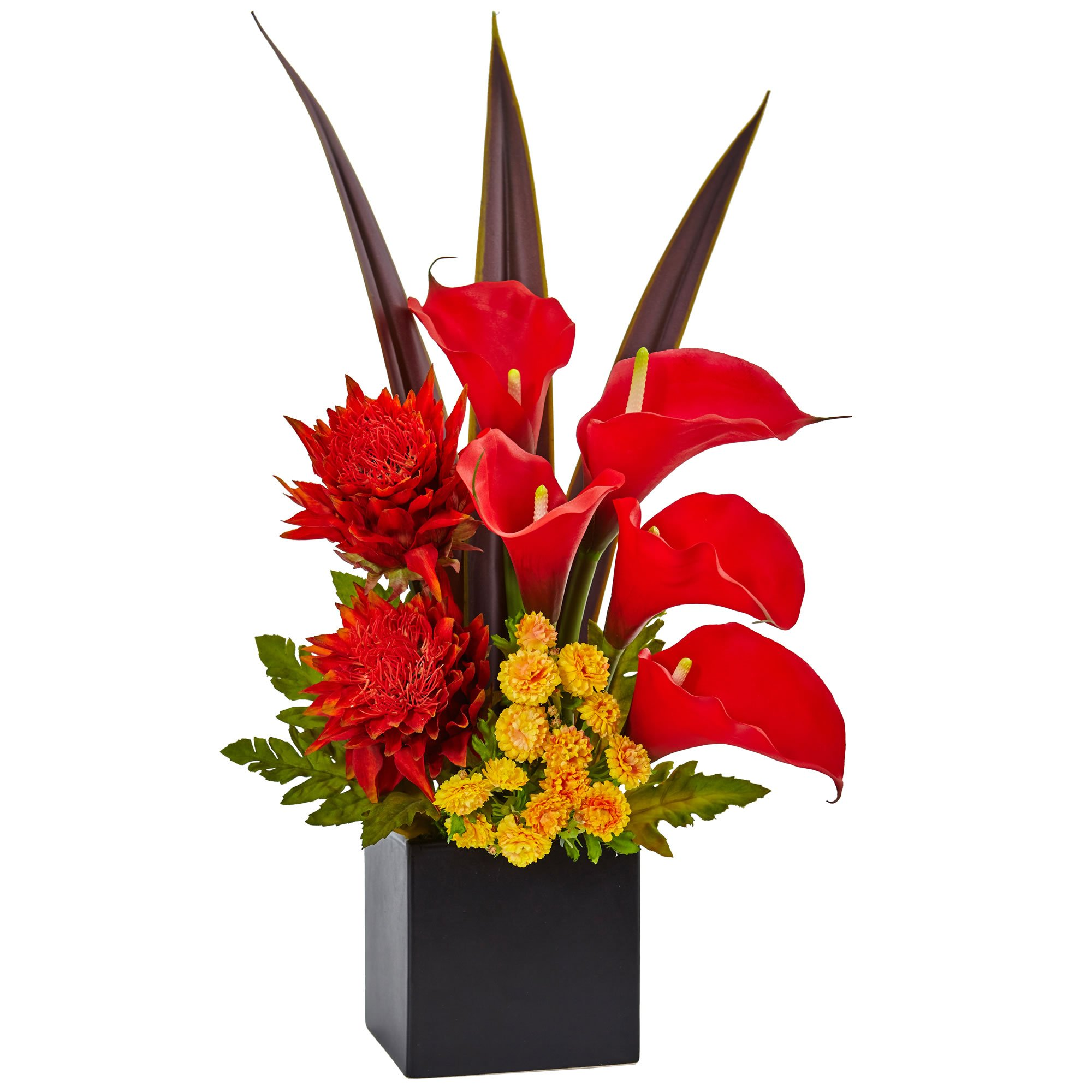 Nearly Natural Tropical Floral and Calla Lily Arrangement, Red/Orange by Nearly Natural