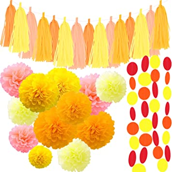 Amazon paper party decorations yellow pack of 34 birthday 12 paper party decorations yellow pack of 34 birthday 12 tissue paper pom pom flowers mightylinksfo