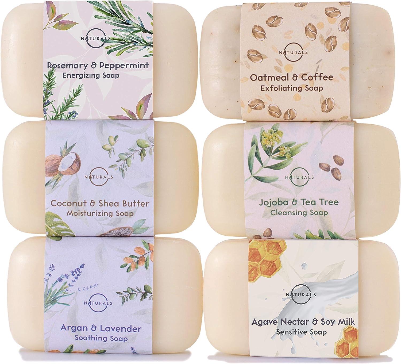 O Naturals Jabón Natural Orgánico, Hidratante con Aceites Esenciales, Aceite de Argana, Manteca Karite, Jabón de Manos y Cuerpo. Jabón Pastilla Ecológico Vegano, Mujer Hombre. 6 unidades x 115 gr