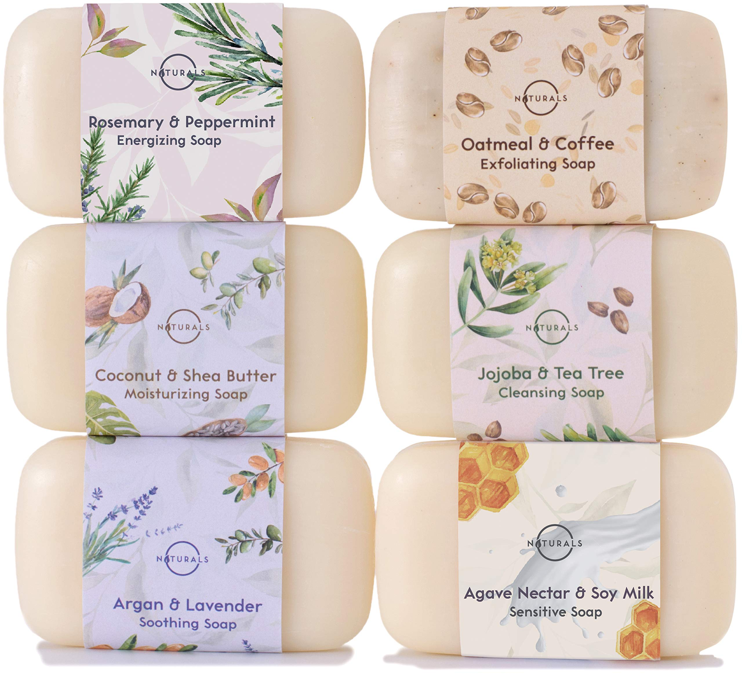 O Naturals 6 Piece Moisturizing Body Wash Soap Bar Collection. 100% Natural Made w/Organic Ingredients & Therapeutic Essential Oils. Face & Hands. Vegan Triple Milled. Gift Set. For Women & Men 4 Oz by O Naturals