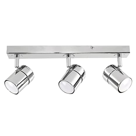 ecb5bc5aa51 Modern 3 Way Adjustable Heads Silver Chrome Straight Bar Ceiling Spotlight  Fitting  Amazon.co.uk  Lighting