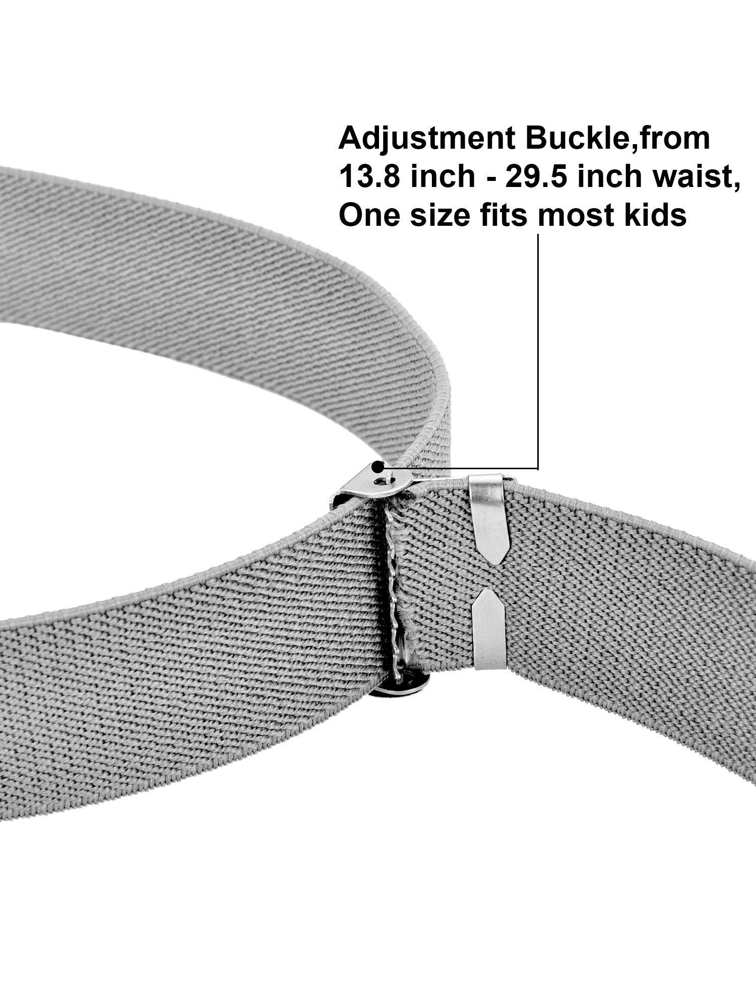Tatuo 4 Pieces Kids Buckle Belt Kid Adjustable Elastic Belt Boy Stretch Belt for Children Favor (black, gray, brown, navy blue) by Tatuo (Image #3)