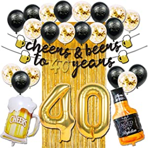 40th Birthday Decorations for Men Women, Cheers and Beers to 40 Years Banner Black and Gold Anniversary Birthday Party Decorations with Beer Mug Balloon Confetti Balloons Backdrop Fringe Curtain