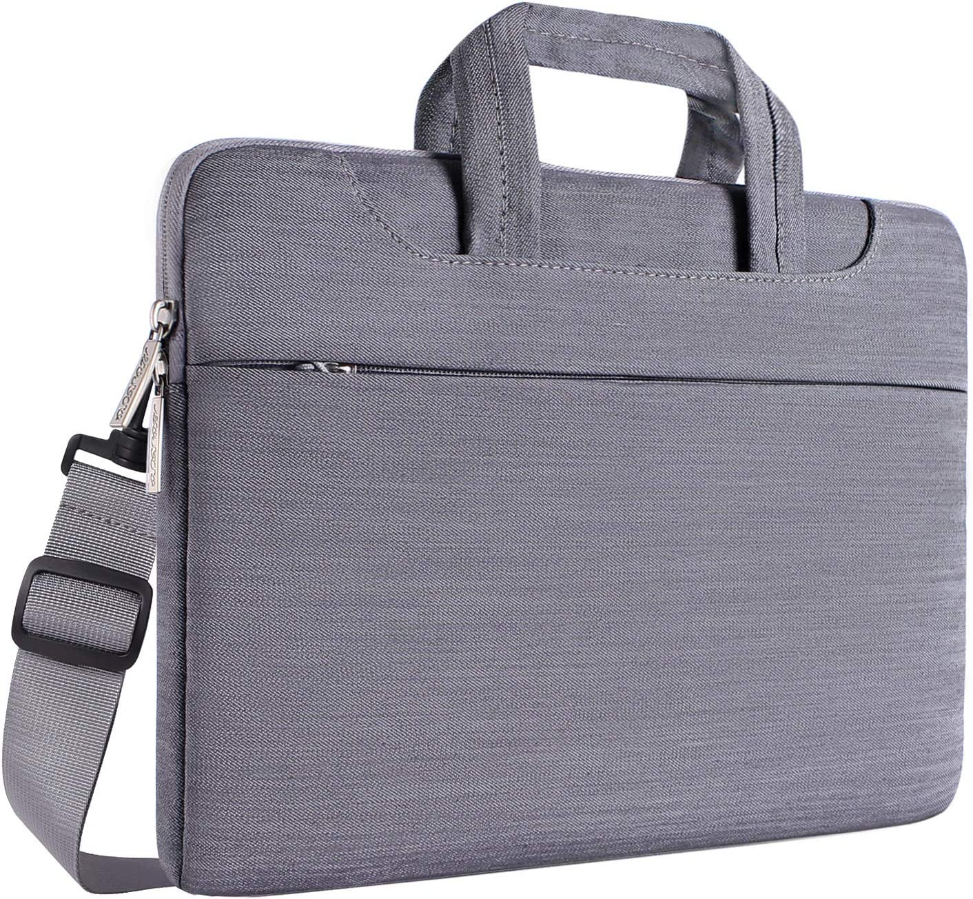 MOSISO Laptop Shoulder Bag Compatible with 15 inch MacBook Pro Touch Bar A1990 A1707, ThinkPad X1 Yoga, 14 HP Acer Chromebook, 2019 Surface Laptop 3 15, Denim Briefcase Handbag Sleeve, Light Gray