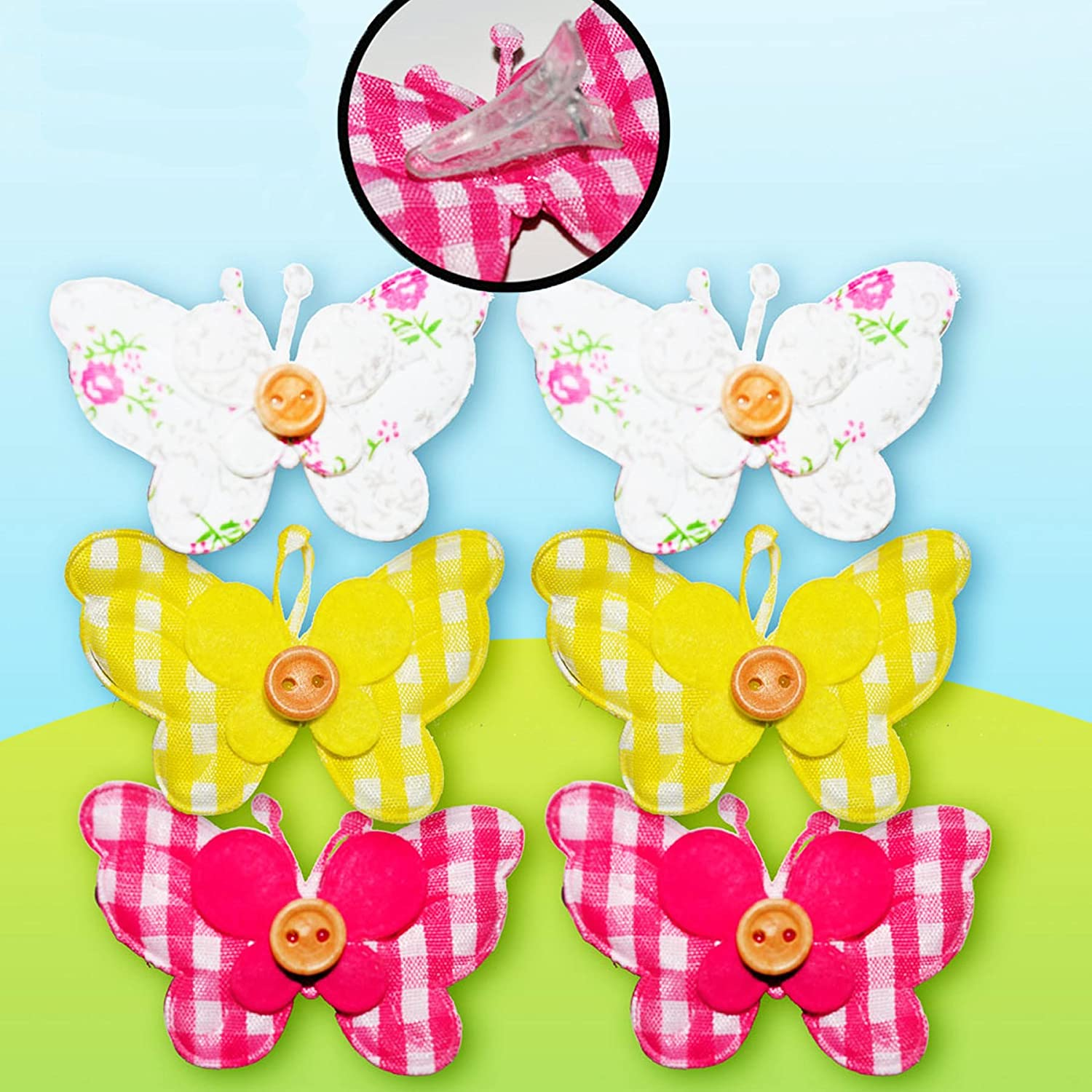 Easter Arts Craft Decorations Egg Hunt - 6 Pack Fabric Butterfly Clips Davies Products