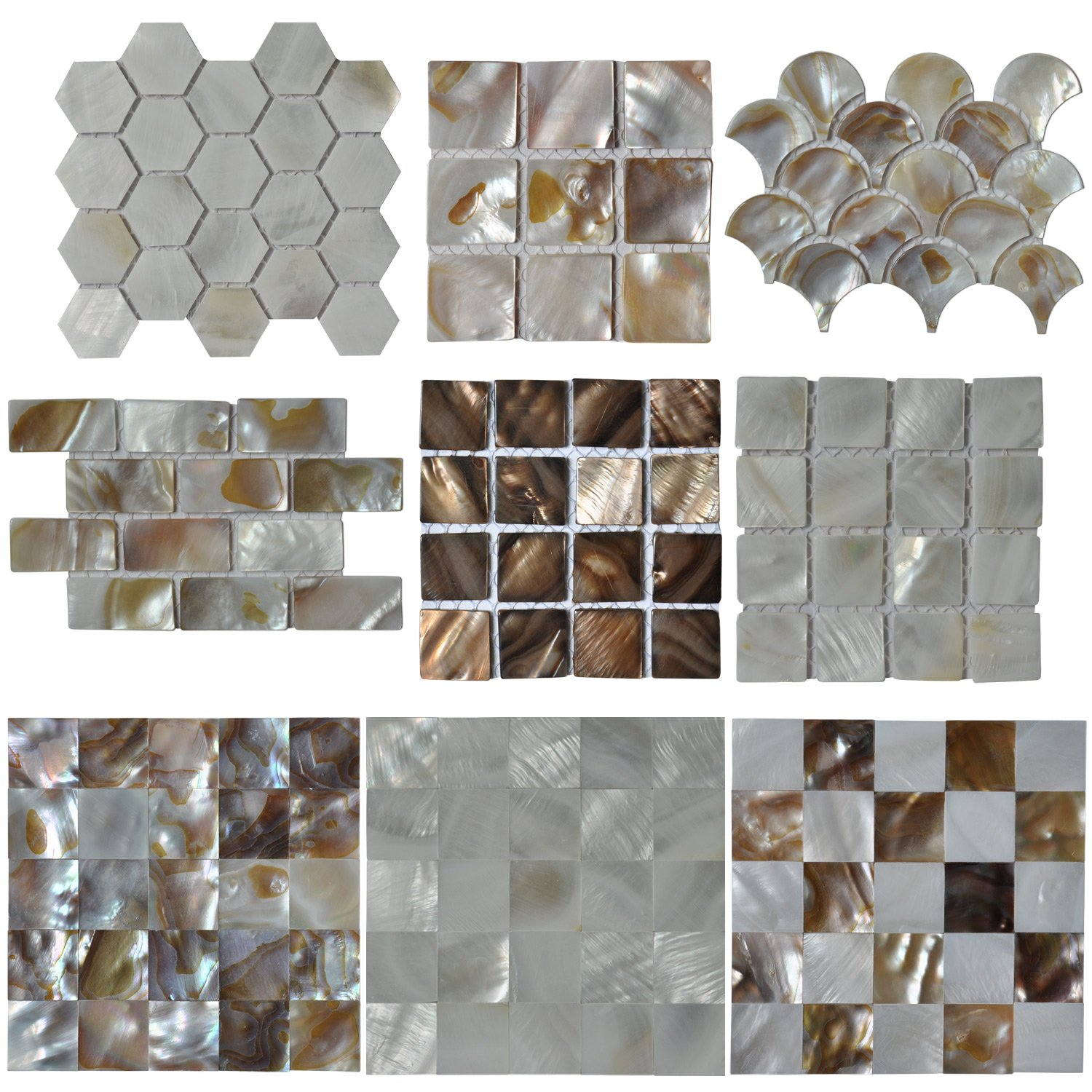 Glass tiles amazon kitchen bath fixtures kitchen art3d mother of pearl mop shell mosaic tiles 9 samples dailygadgetfo Choice Image