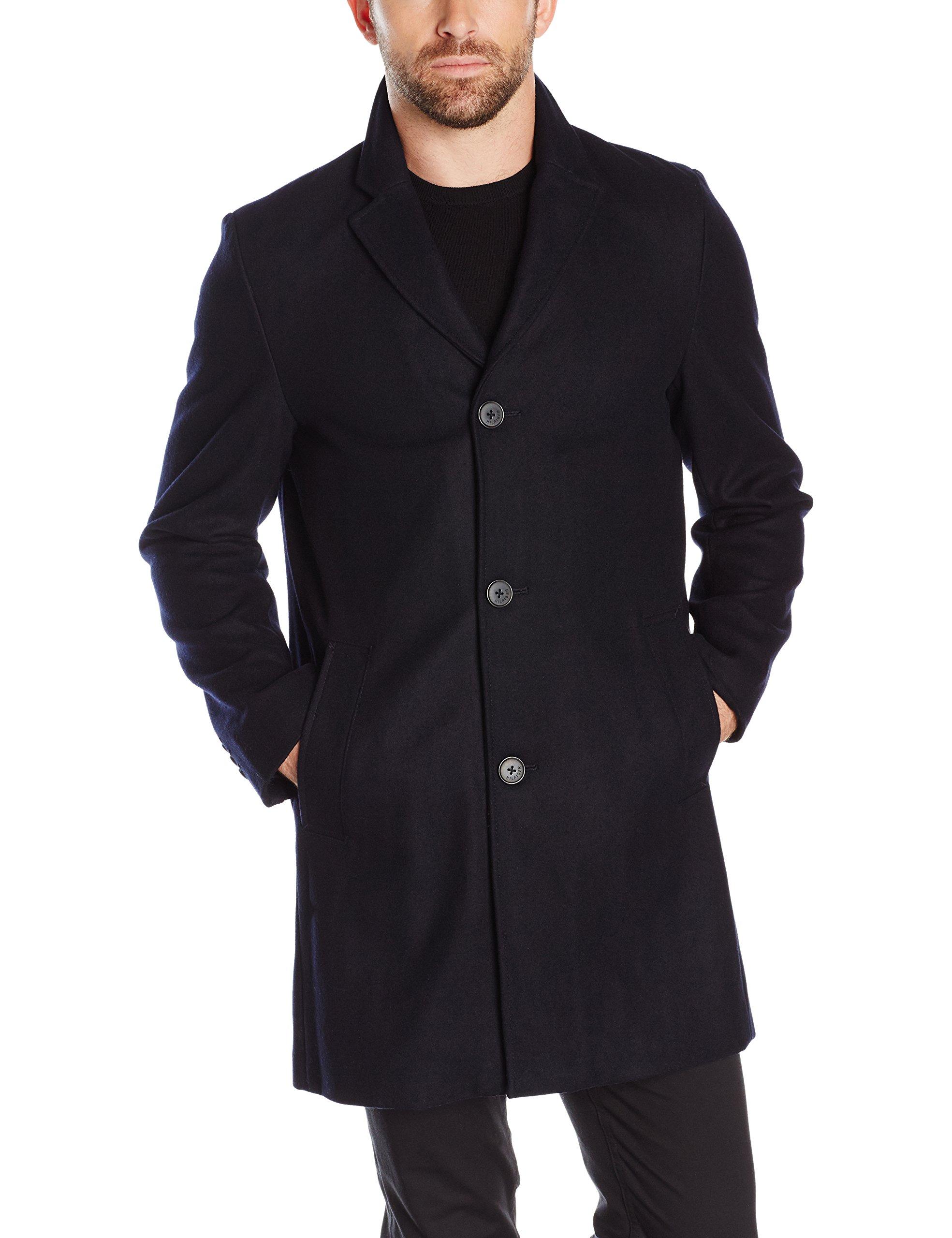 Tommy Hilfiger Men's Wool Melton Unfilled Top Coat, Navy, XL by Tommy Hilfiger