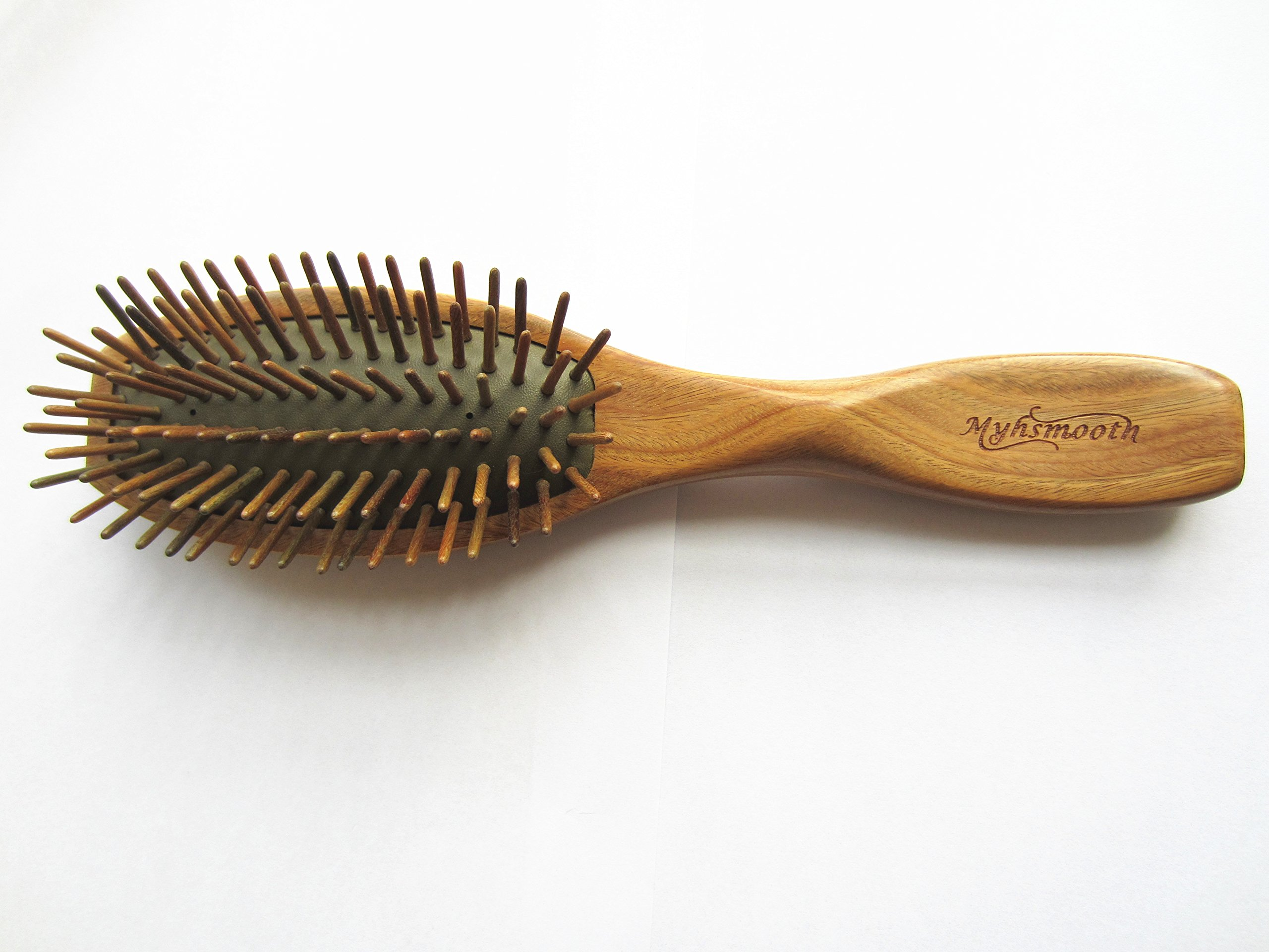 Myhsmooth G2s-am-gs Big Size Professional Handmade Natural Green Sandalwood No Static Hair Brush Air Bag Massage Comb Hair Comb with Handle with Aromatic Scent for Gift