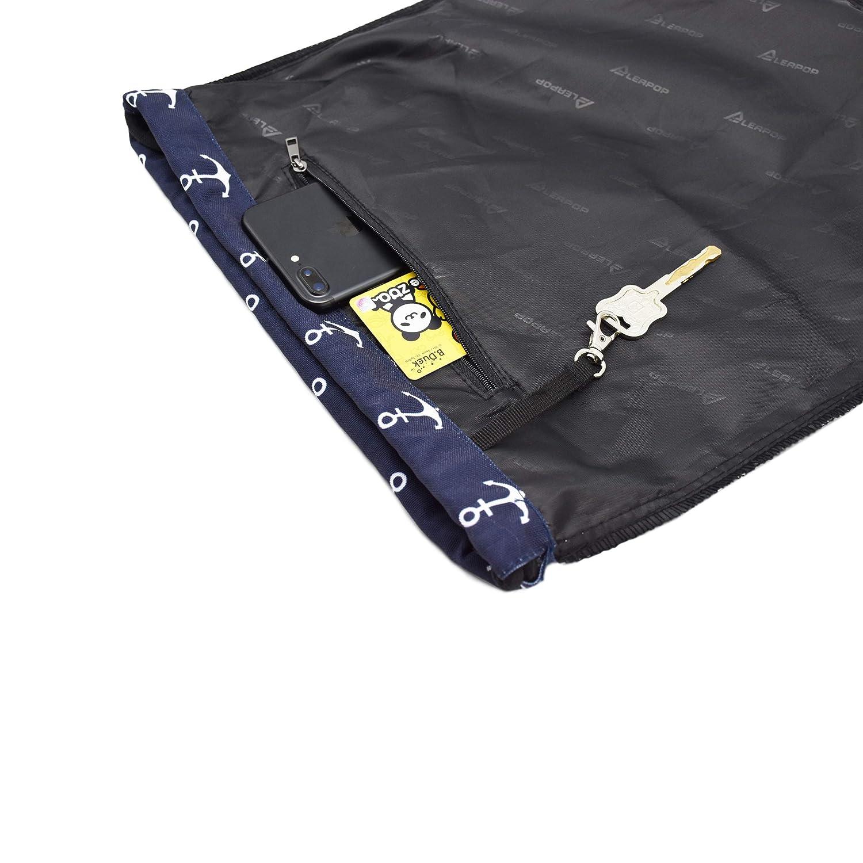 Leapop Drawstring Bag Lightweight Gym Sack Bag Sport Unisex Backpack Sackpack Black Anchor