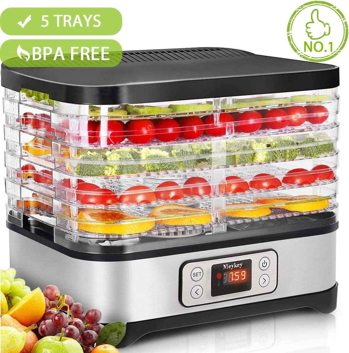 Food Dehydrator Machine by Electricity with timer 5 Trays LCD Display Screen BPA Free 250W