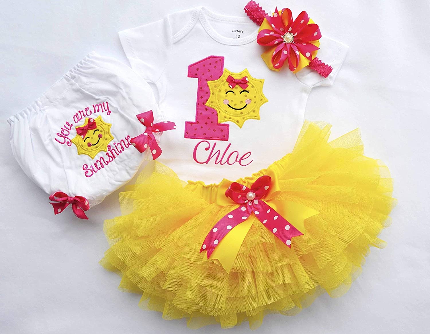 4ecae9042 Amazon.com: You are my sunshine outfit,First birthday outfit girl,Sunshine  Birthday Outfit,Girls 1st Birthday Outfit,Cake smash outfit girl, pink  yellow: ...