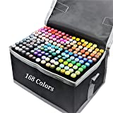 Alcohol Markers 168 Colors Dual Tips Permanent Art Markers Pen for Kids & Adult Brush Markers Highlighter Pen Sketch Markers