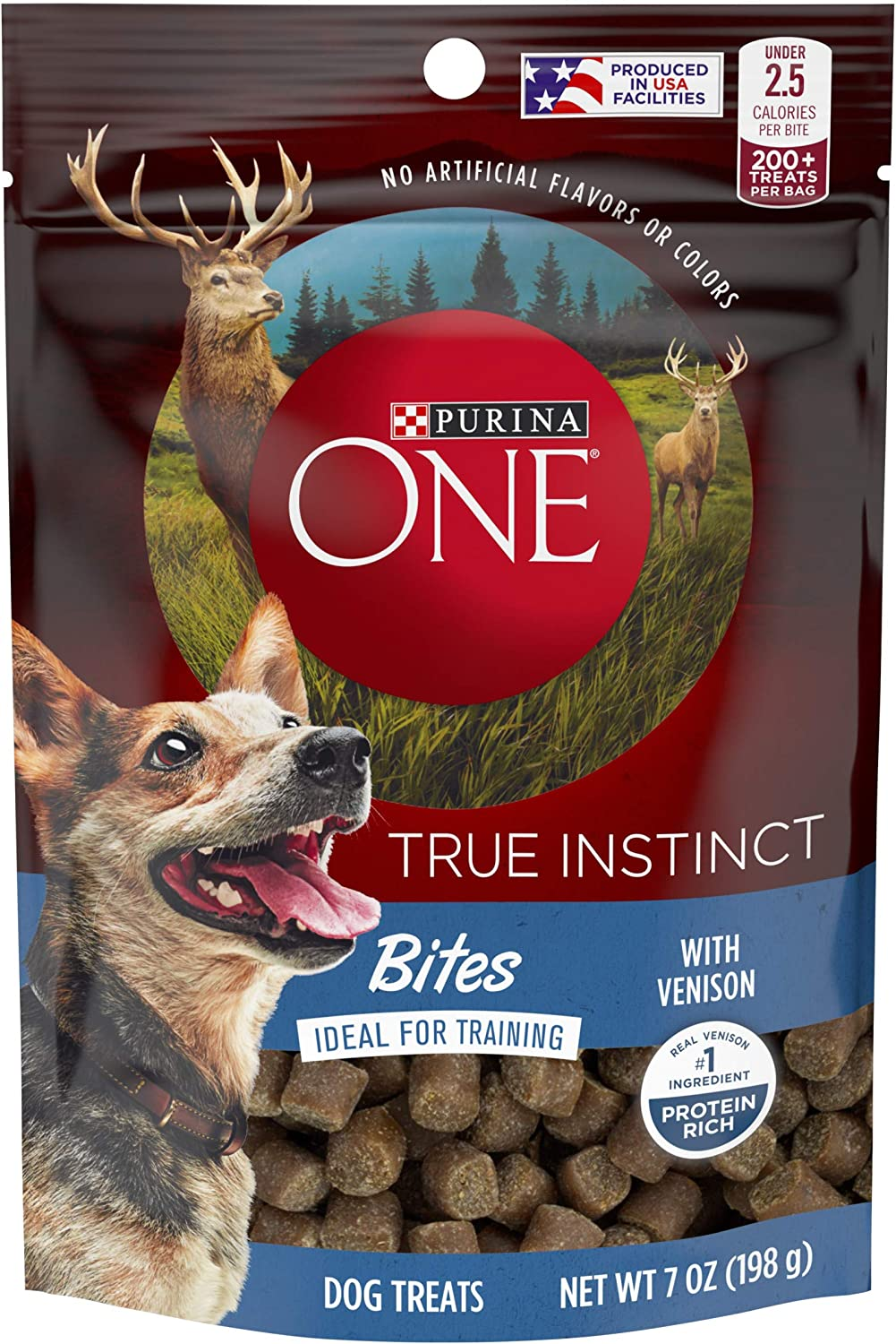 Purina ONE Made in USA Facilities Dog Training Treats, True Instinct Bites With Venison -7 oz. Pouches(Pack of 5)