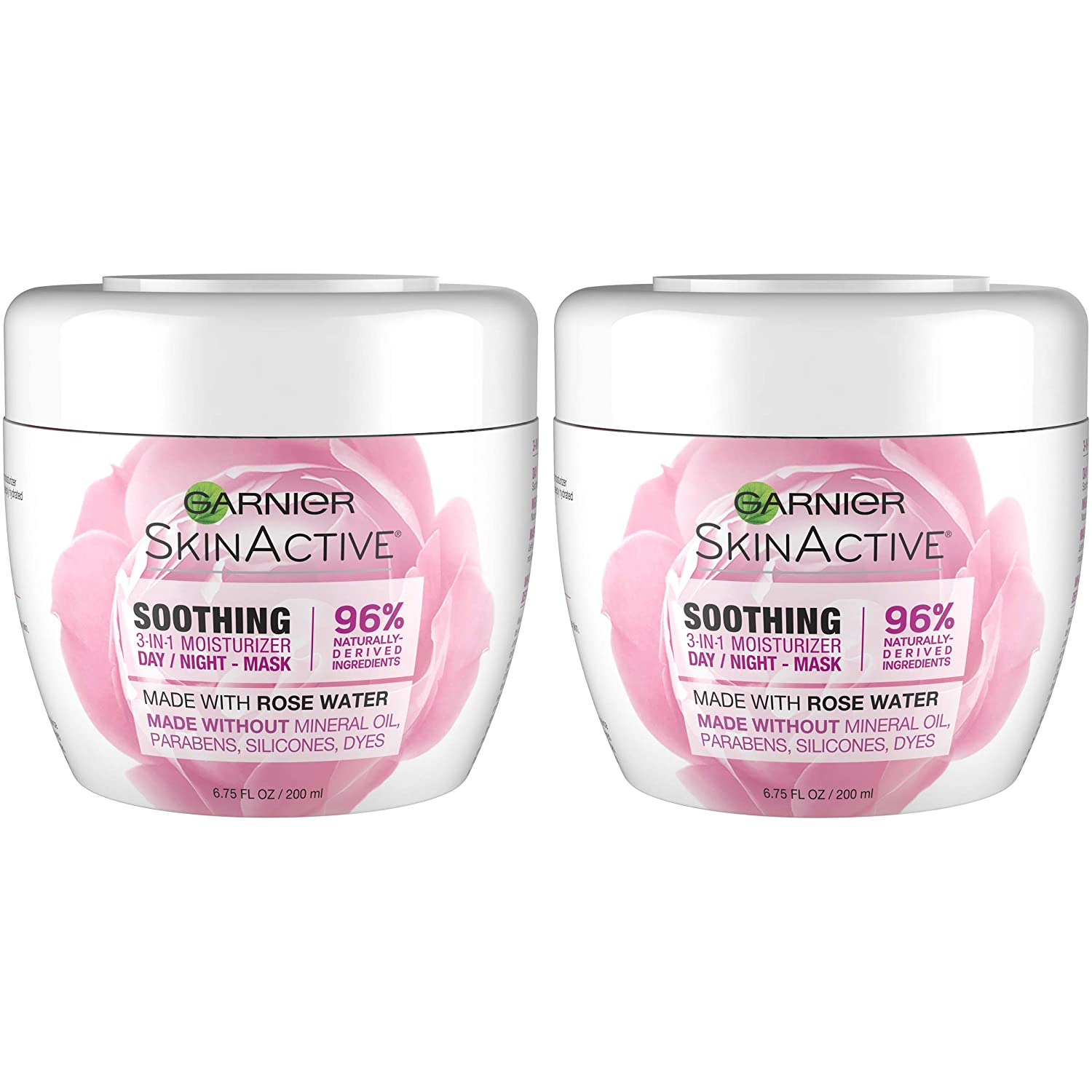 Garnier SkinActive 3-in-1 Face Moisturizer with Rose Water,6.7 Fl Oz (Pack of 2) (Packaging May Vary)